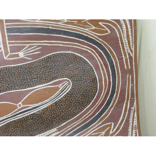 82 - John Bungama - an Aboriginal panel, depicting a snake after laying eggs mixed media 12