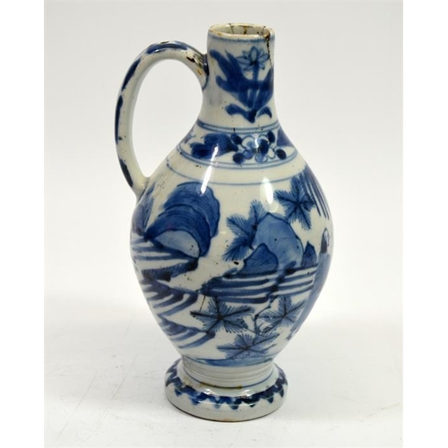 16 - A Chinese Ming blue and white ewer, footed ovoid form, painted in the round with figures in a garden...
