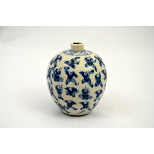 30A - A Chinese blue and white miniature vase, Thousand Boys design, Kangxi mark, 7.5cm high...