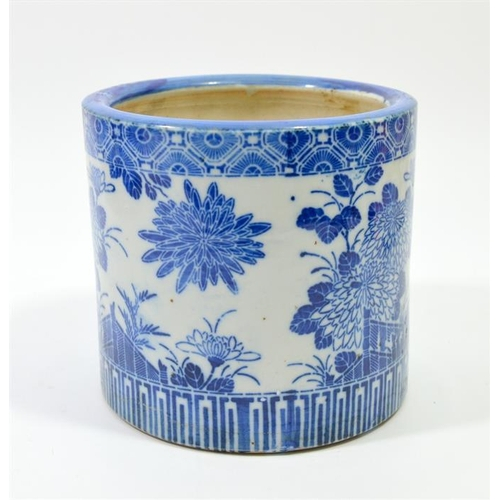 31 - A 19th century Japanese blue and white brush pot or jardiniere, transfer printed with chrysanthemums...