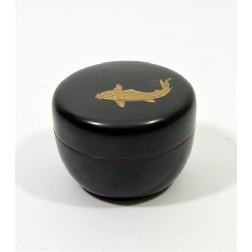 36 - A Japanese lacquer box and cover, decorated with a large carp in gilt lacquer, Meiji period, height ...
