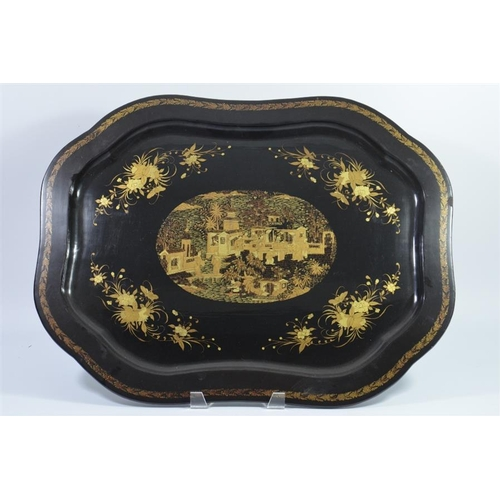 38 - A Chinese lacquer tray  decorated with a figural garden landscape in a central cartouche, surrounded...