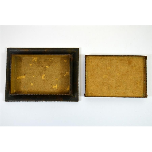 41 - A Japanese enamelled suzuribako metal box and tray, the rectangular box has an overlapping lid with ...