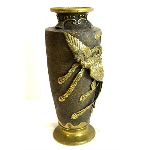 54 - A Japanese bronze vase, relief decorated with a phoenix bird, height 34cm...