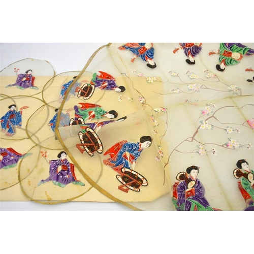 56 - A set of Japanese painted silk mesh roundels or table mats, one large and twelve small, each painted...