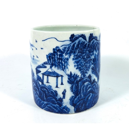 10 - A Chinese blue and white brush pot, Guangxu mark and of the period, painted in the round with a wate...
