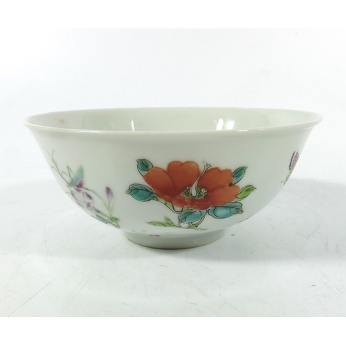 16 - A Chinese famille rose bowl, 18th century, Qianlong, blue seal mark, 12.5cm diameter...