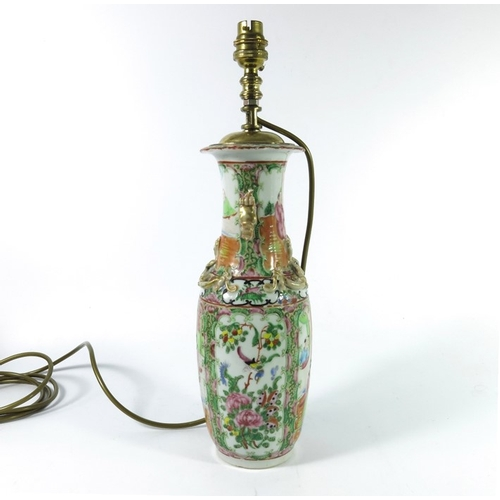 20 - A Chinese famille rose vase, 19th century Cantonese, converted to a lamp, lizard moulded neck and do...