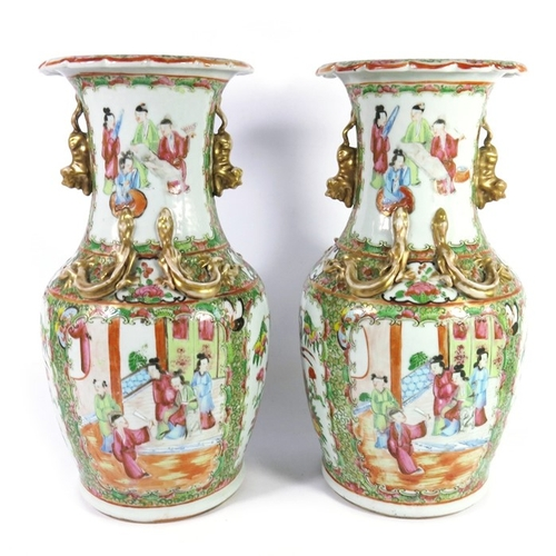 3 - A pair of Chinese famille rose vases, shouldered form with lizard moulded necks and dog handles, pai...