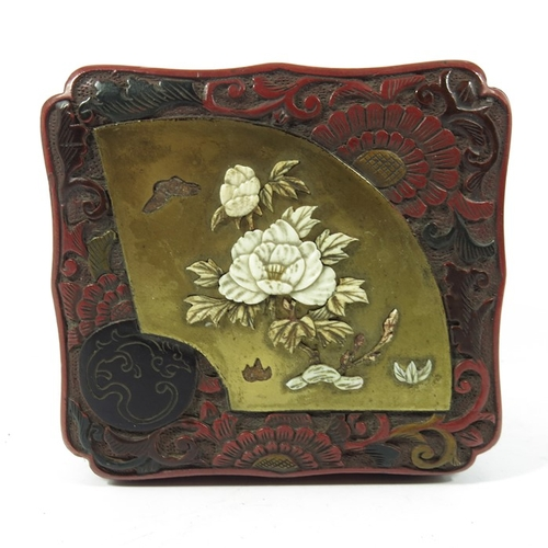 36A - A Japanese lacquer and Shibayama box, gilt fan section inset with mother of pearl, 12cm x 11cm...
