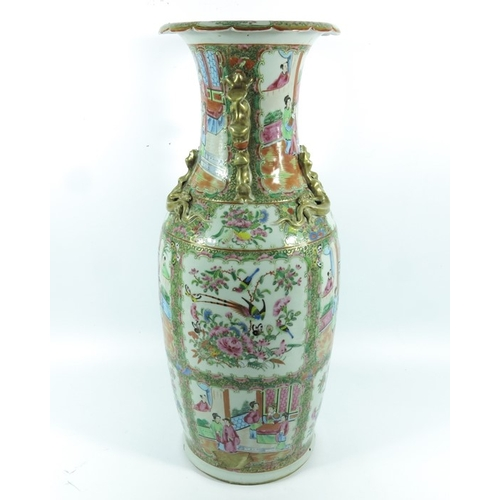 5 - A large Chinese famille rose vase, shouldered form, relief moulded lizards to the neck and dog handl...