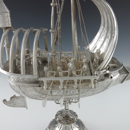 17 - A large silver Neff of centre piece, Dutch, London import marks 1900, modelled as a galleon in sail,...