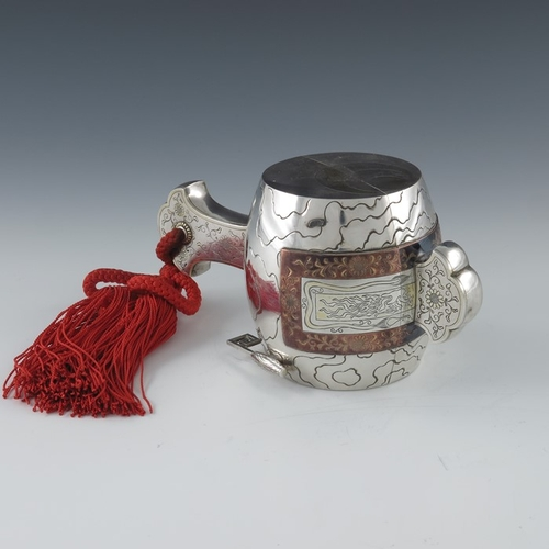 2 - A Japanese silver and mixed metal casket in the form of a Uchide no kozuchi, or Daikoku mallet, etch...