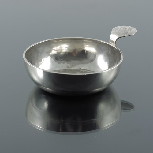 21 - An 18th century Dutch silver porringer, Amsterdam 1768, plain form with applied thumbpiece, engraved...