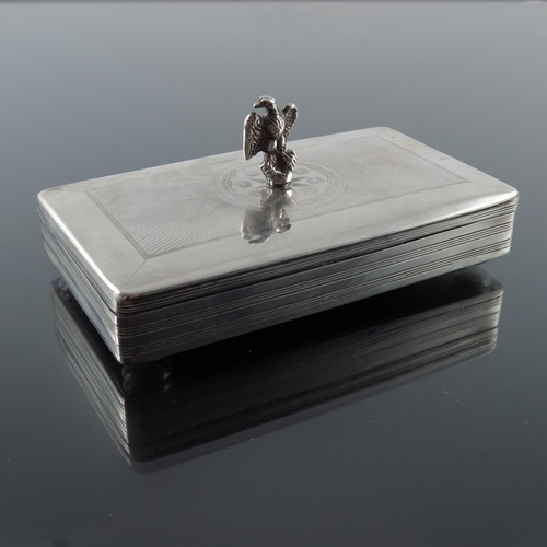 25 - A 19th century Dutch silver tobacco box, circa 1860, etched pin stripe and engine turned design, the...