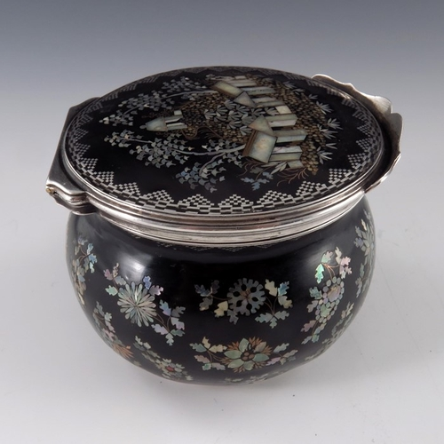 26 - An 18th century silver, tortoiseshell and abelone set box, ovoid form, the body with floral sprigs, ...