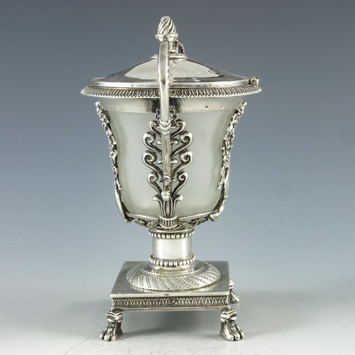 32 - M ?, Paris circa 1830, a French silver mustard pot, in the Empire style, the frosted glass container...