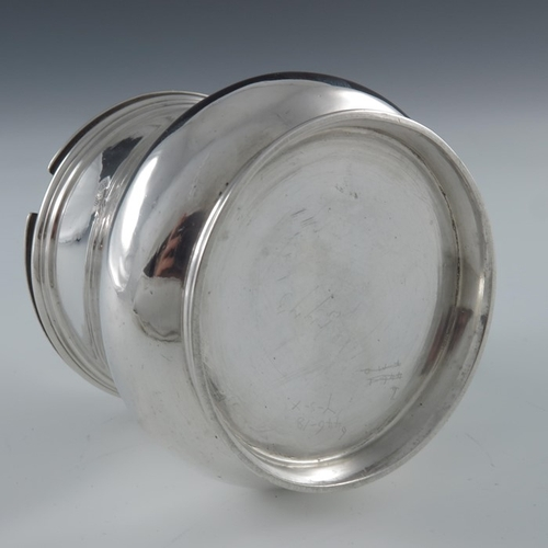 56 - A Victorian silver mustard pot, William Fountain, London 1840, squat baluster form, S scroll handle ...