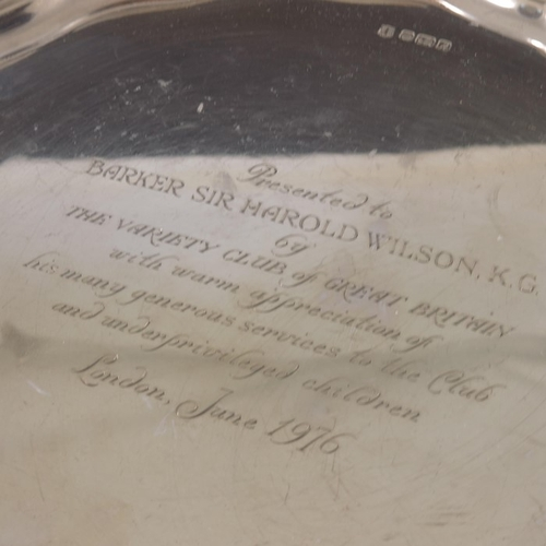 58 - An Elizabeth II silver presentation salver for Harold Wilson, Cooper Brothers and Sons, Sheffield 19...