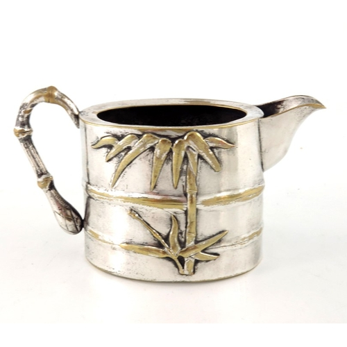 7 - A Chinese silver plated tea set, Qing, circa 1870, cast and relief moulded bamboo section drum form,...