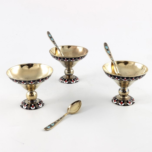 9 - Three Soviet Russian silver gilt and enamelled bowls with spoons, Jewellery Watch Factory, Leningrad...