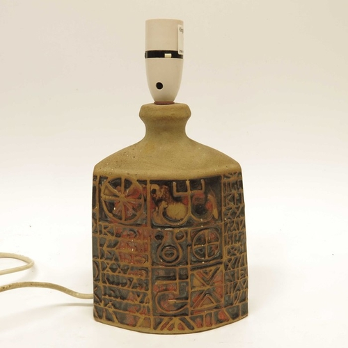 10 - A Tremaen Pottery Hieroglyphic Ruan lamp base, 22cm high (excluding fitting)...