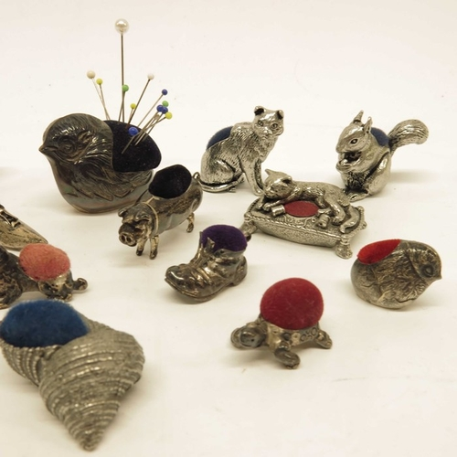 11 - Edwardian style silver novelty pin cushions, including chicks, pig, shoe etc., together with Wentwor...