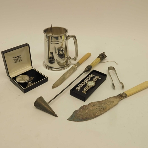 12 - Souvenir spoons, silver plated cutlery and candle snuffer, and a Bravington's Renowned pocket watch....