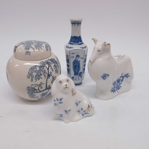 15 - Royal Crown Derby Imari Blue Collie Dog and Spaniel, A Mason's blue and white ginger jar and cover a...