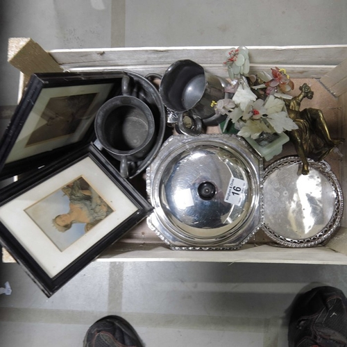 16 - A silver plated muffin dish and cover, other plated and pewter ware, a cast brass figure of a classi...