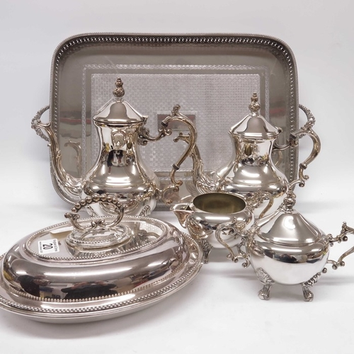 20 - F B Rogers, a four piece silver plated tea set, baluster form with acanthus moulded 'S' scroll handl...