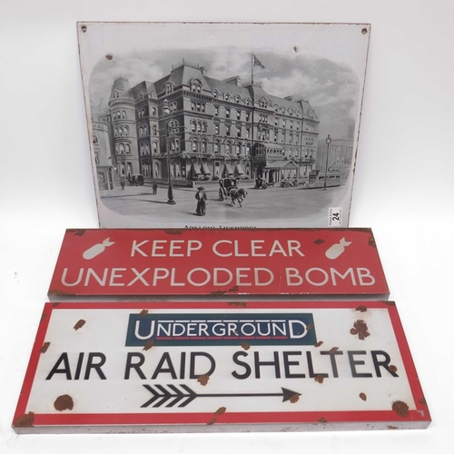 24 - A metal advertising sign, Adelphi Liverpool, and two metal signs, Keep Clear Unexploded Bomb, and Un...
