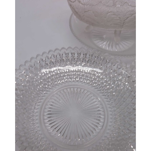 27 - Victorian pressed glass; to include a circular diamond pattern plate with star cut panel,  an oval b...