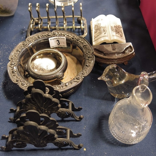 3 - A silver plated wine coaster, menu holder, toast rack and salt; glass water jug and other sundry ite...