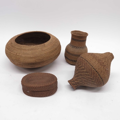 31 - Antique Basketry, to include a circular bowl, a bottle vase, an oval lidded box and an amphora shape...