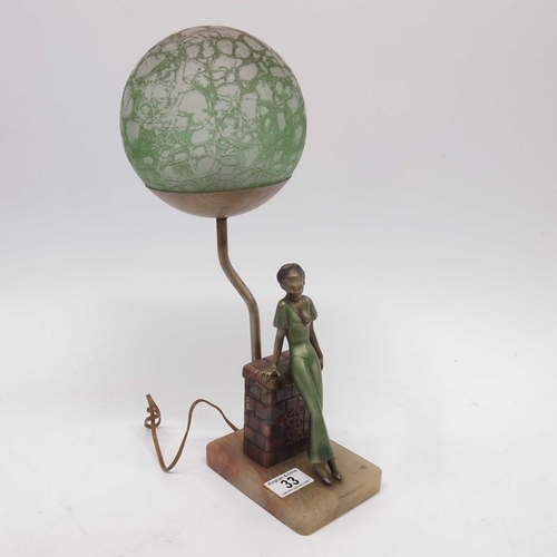 33 - Art Deco figural lamp base, with moulded crackle effect green painted orbital shade, on onyx base....