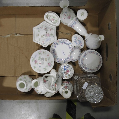 40 - Wedgwood Bone China Rosehip pattern trinket box and cover, other examples, and a cut glass decanter ...