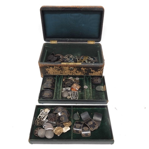 51 - Various decorative metal buckles, together with a wooden part leatherette covered jewellery case....