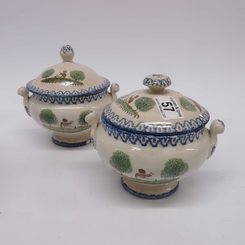 57 - J Meir & Sons Ironstone twin handled tureen, puce decorated Mazara pattern landscape, a pair of Fren...