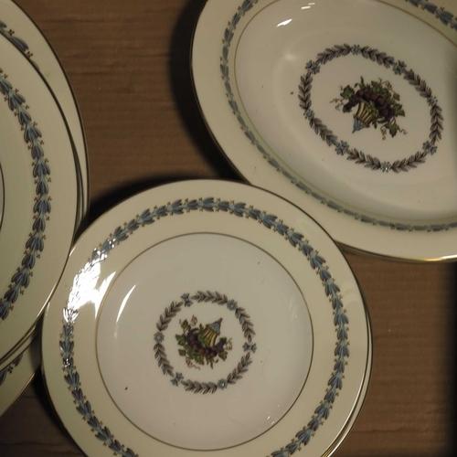 7 - A set of eight Wedgwood 'Appledore' pattern dinner plates,  eight dessert plates, three serving dish...