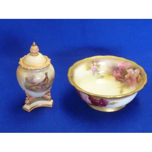 10 - An early 20th Century Locke & Co., Worcester blush porcelain Vase and Cover hand decorated with a co...