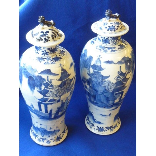 106 - A pair of 19th Century baluster-shaped Chinese porcelain Vases and Covers, the Covers with stylised ...