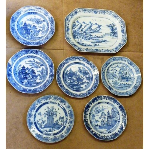 107 - A selection of 18th Century Chinese Exportware including Dishes, Bowls and an octagonal Platter (7 i...