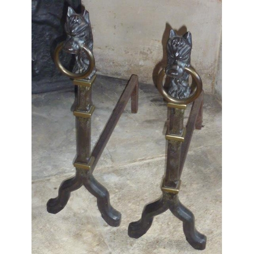 139 - A pair of cast iron and brass mounted Andirons, the horse head style terminals with brass rings, eac...