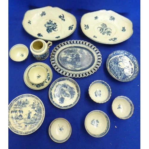 14 - A selection of mostly 18th Century blue and white Ceramics to include Worcester etc., and including ...