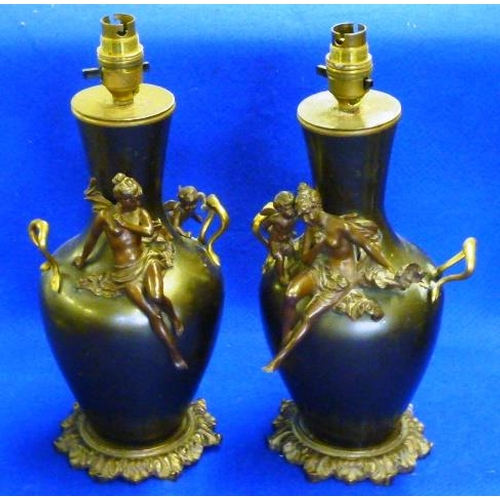 146 - A pair of late 19th Century French style bronze and gilt metal mounted Vases (now as lamps), each wi...