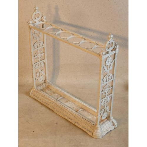 153 - A 19th Century white painted cast iron six division Stick Stand in Aesthetic movement style (possibl...