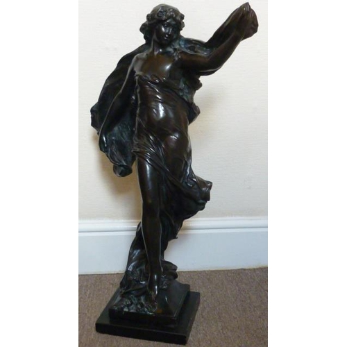 156 - A large and showy Art Nouveau style Bronze of a lady with flowers in her hair and long flowing cape ...