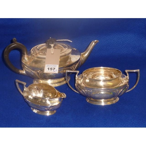 157 - A three-piece Art Nouveau silver Tea Service, London 1908 by Ackroyd Rhodes, total weight 738g...