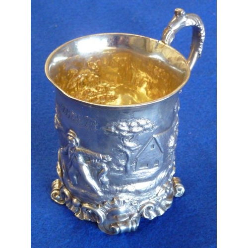 165 - A good and heavy 19th Century hallmarked silver Christening Tankard with gilt interior and repoussé ...